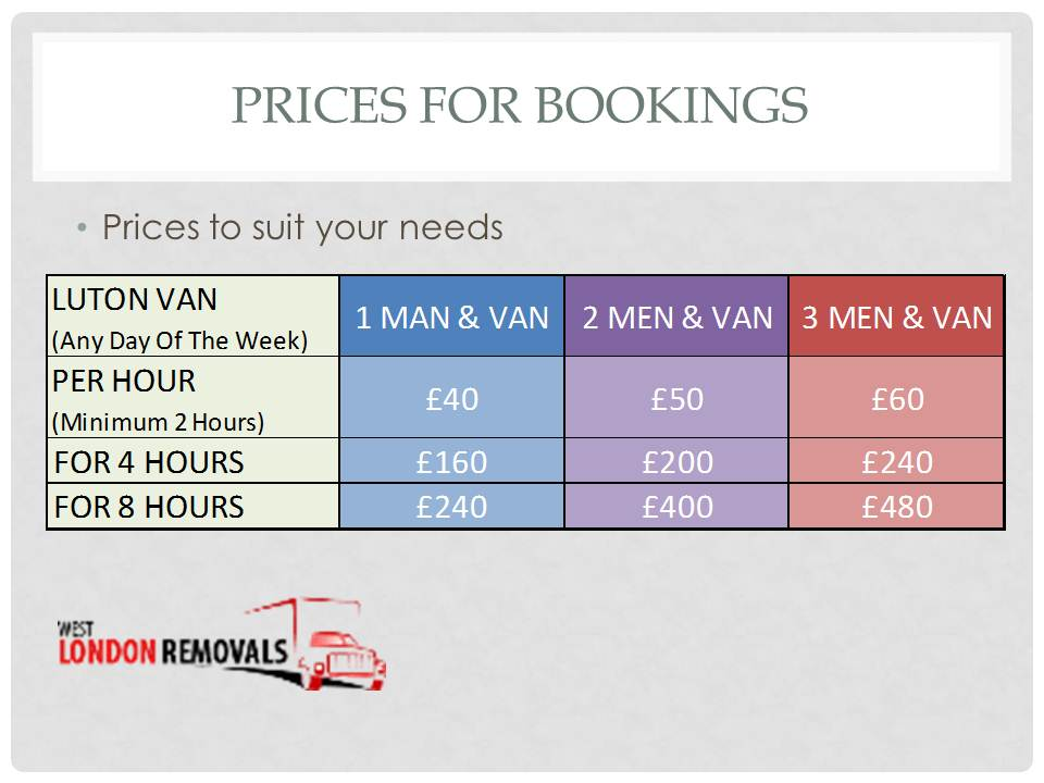 Prices For Bookings At West London Removals