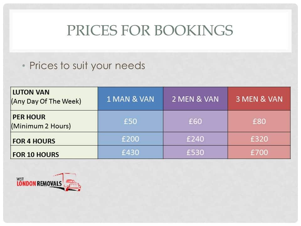 West London Removals - Prices For Removals Bookings Updated Prices